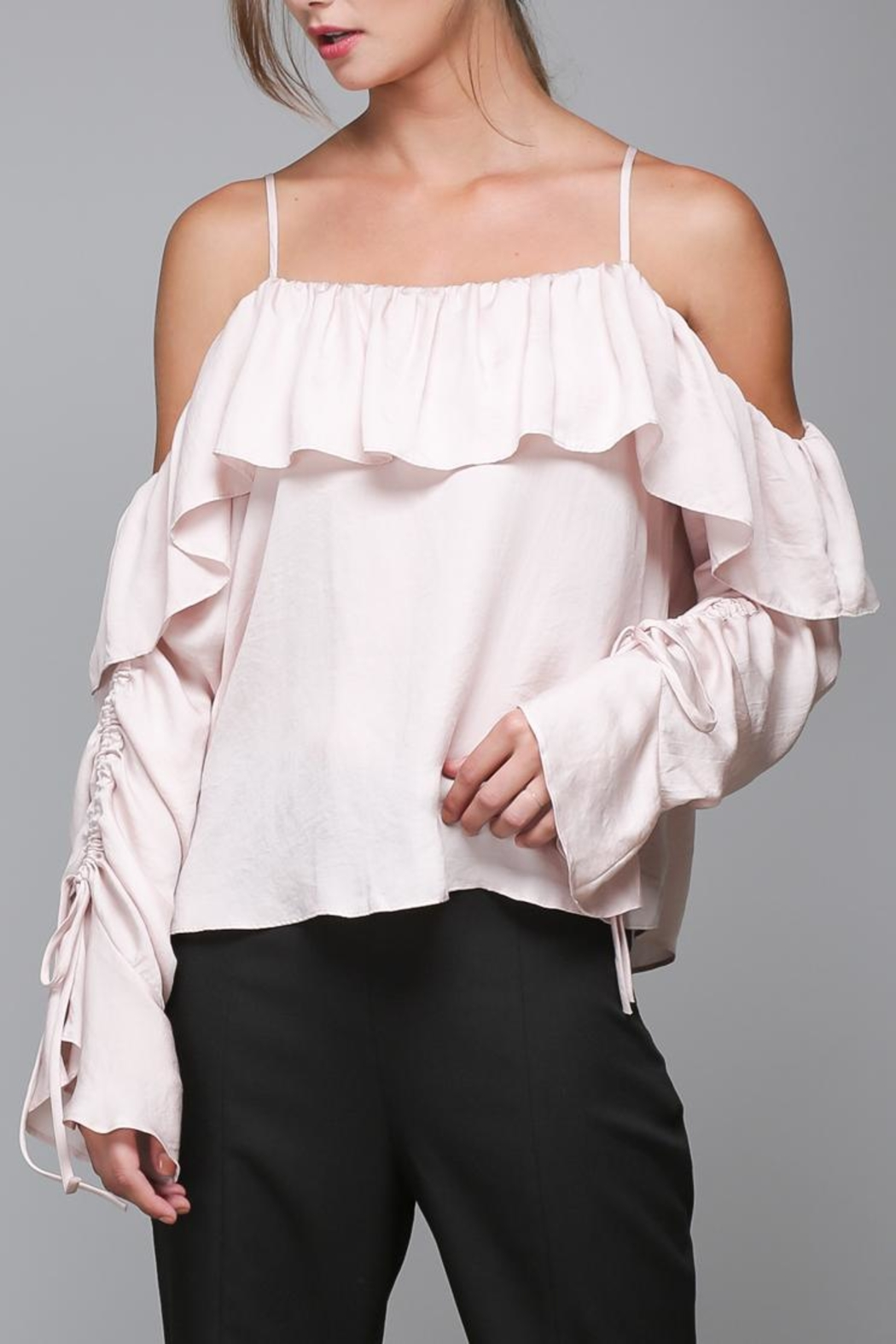 Do & Be Blush Ruffle Top - Side Cropped Image