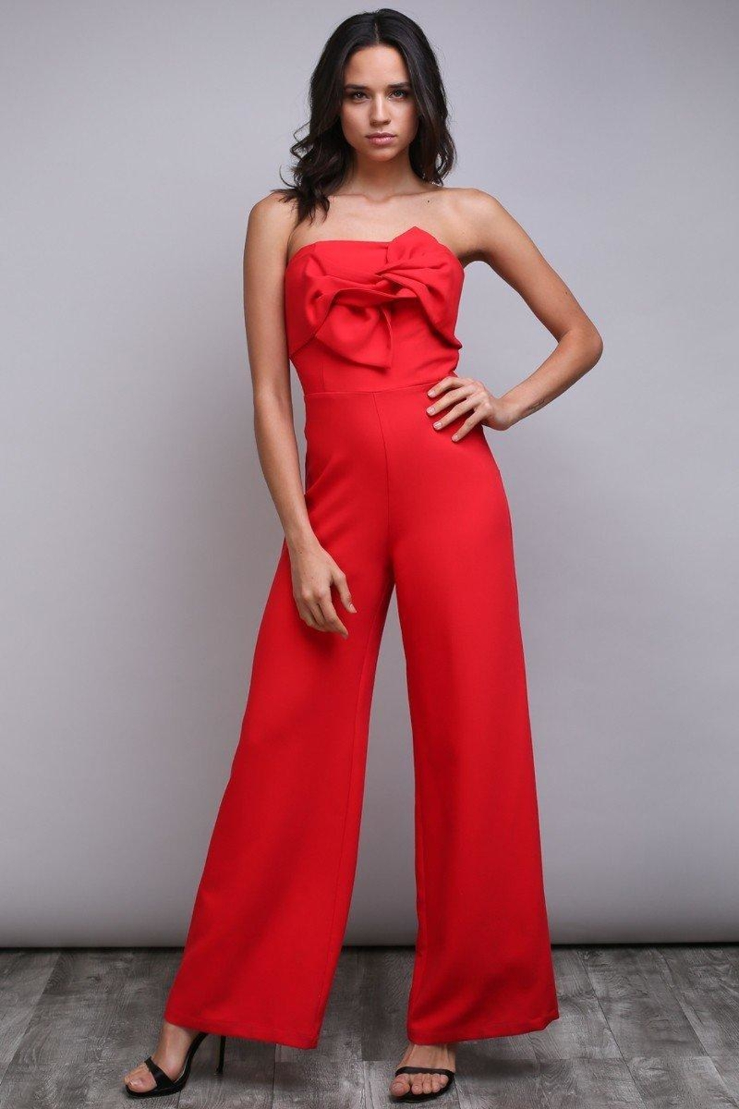 Do & Be Bow Bandeau Jumpsuit - Front Cropped Image