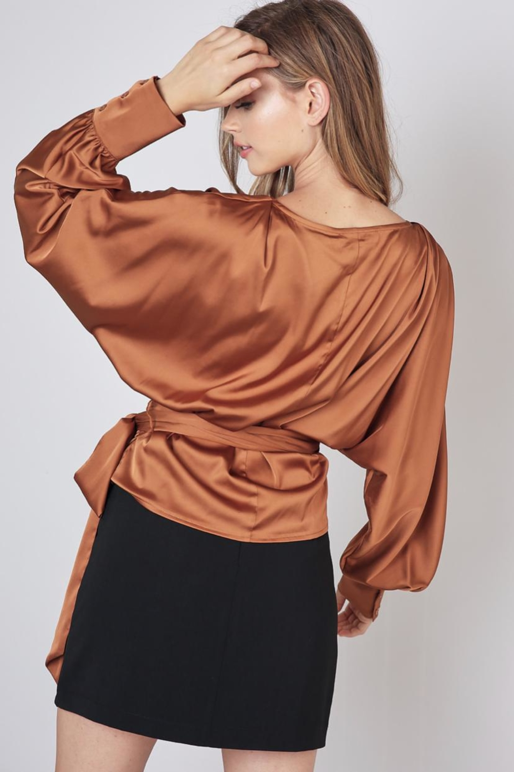 Do & Be Caramel Wrap Top - Side Cropped Image