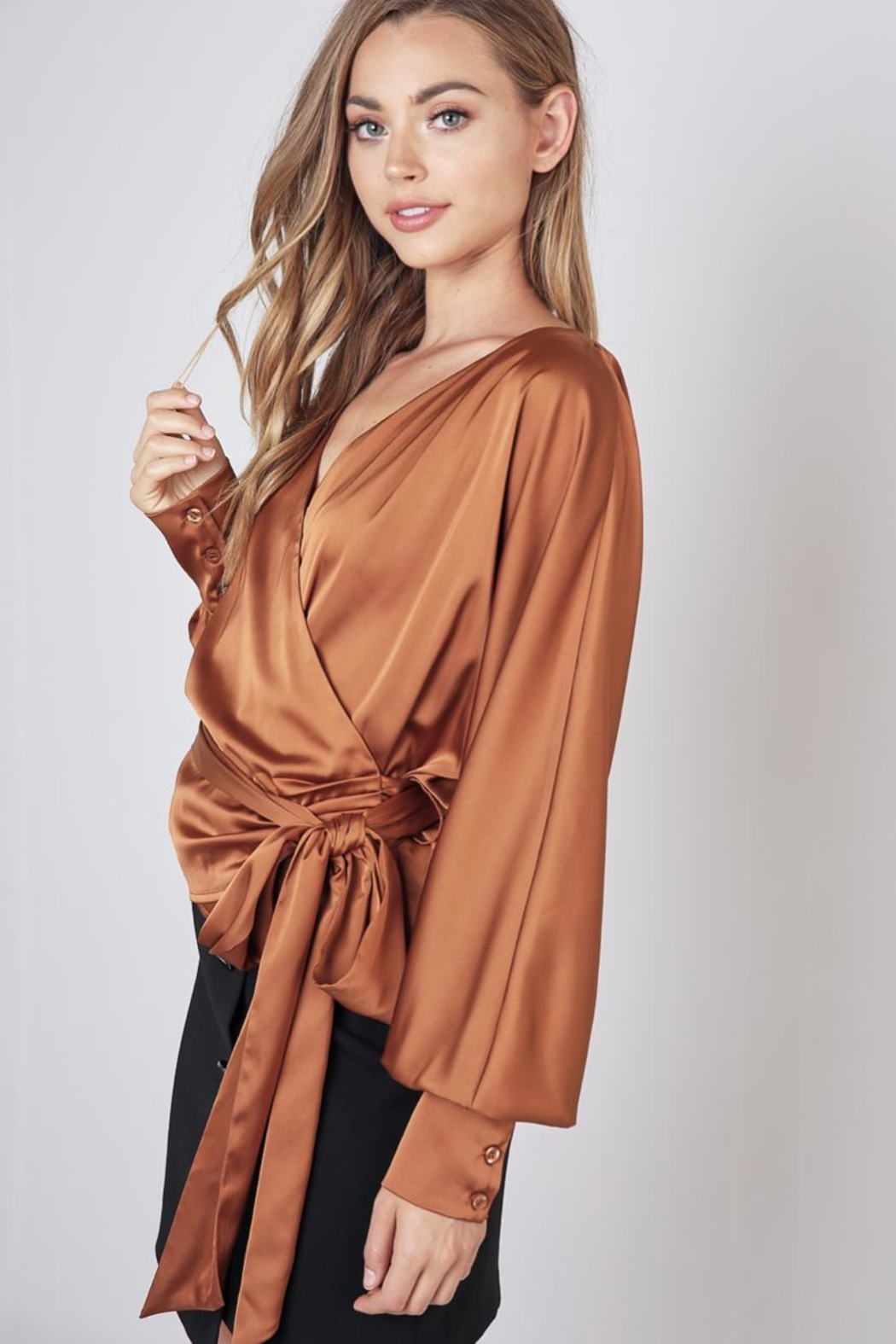 Do & Be Caramel Wrap Top - Front Full Image