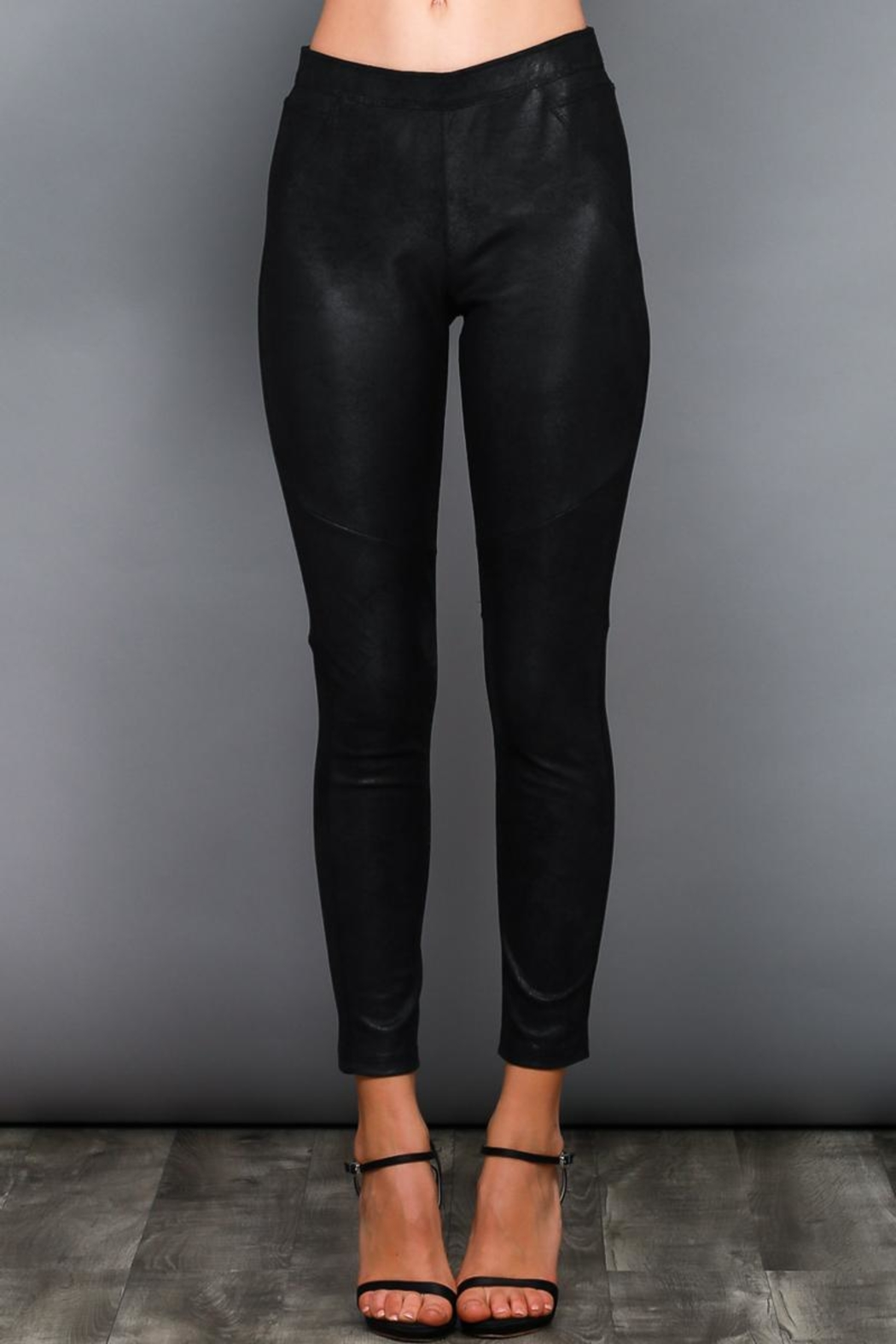 Do & Be Black Coated Leggings - Front Cropped Image
