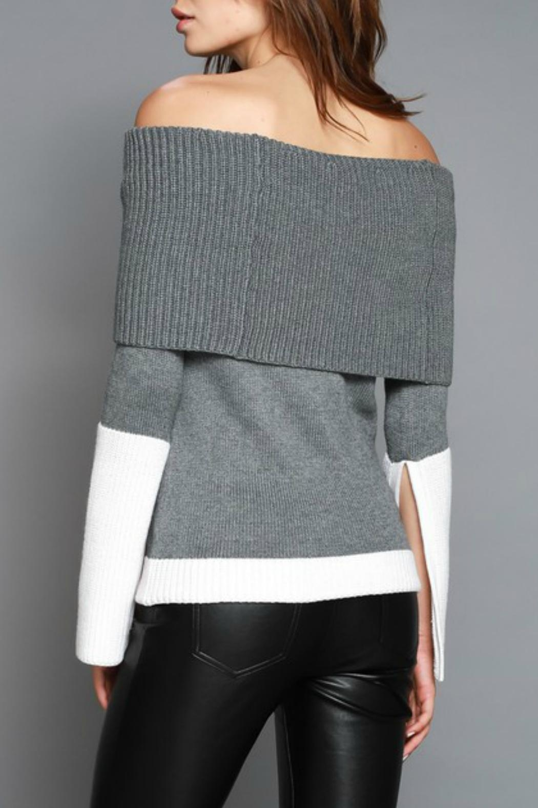 Do & Be Colorblocked Off Shoulder Sweater - Front Full Image