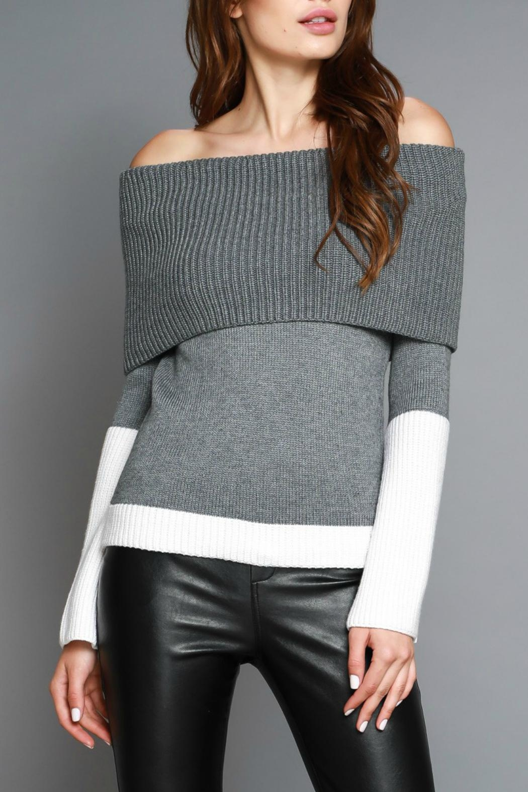 Do & Be Colorblocked Off Shoulder Sweater - Main Image