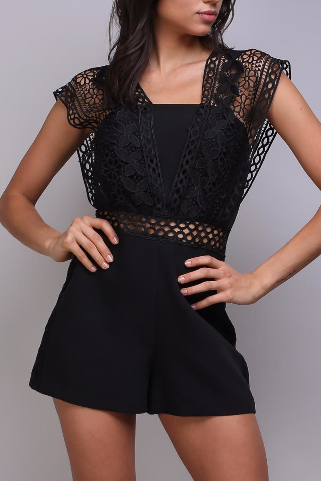 Do & Be Crochet Strap Romper - Front Cropped Image