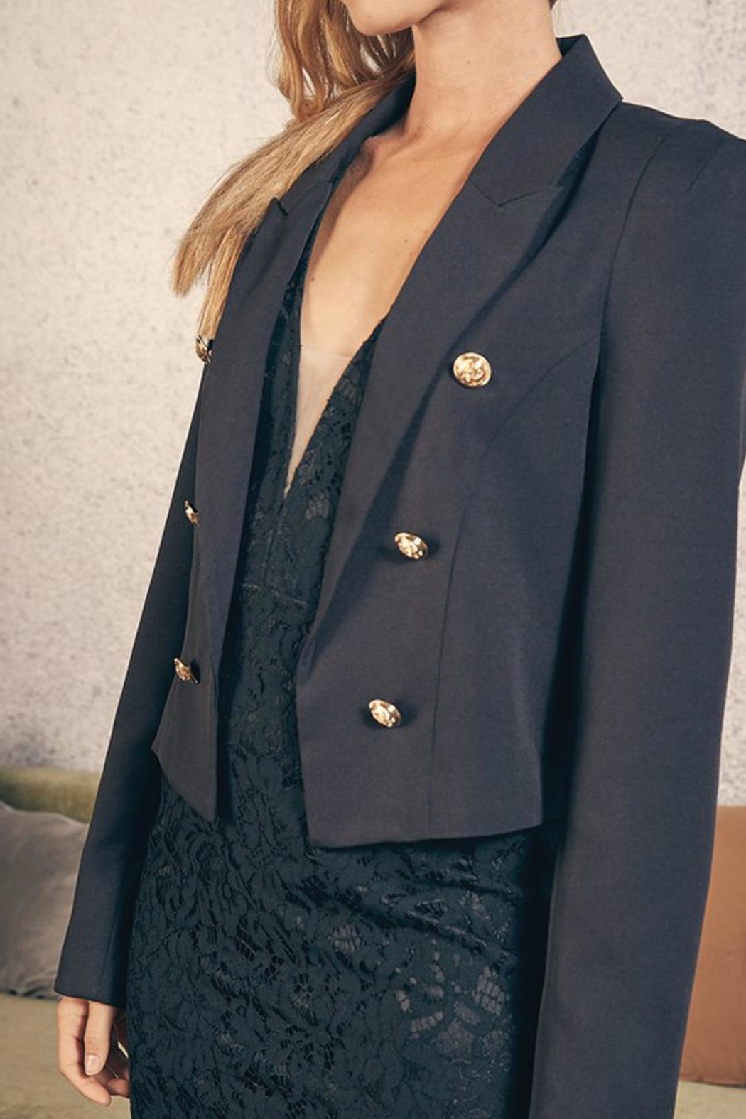 Do & Be Cropped Jacket With Gold Buttons - Front Full Image