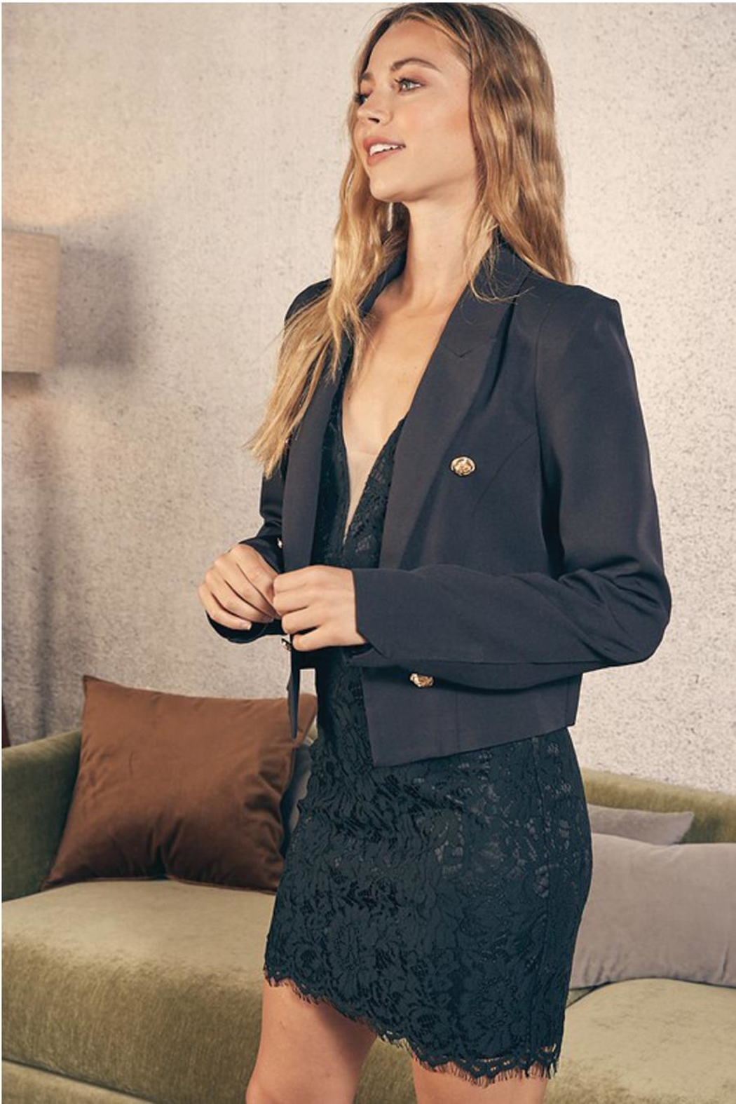 Do & Be Cropped Jacket With Gold Buttons - Main Image