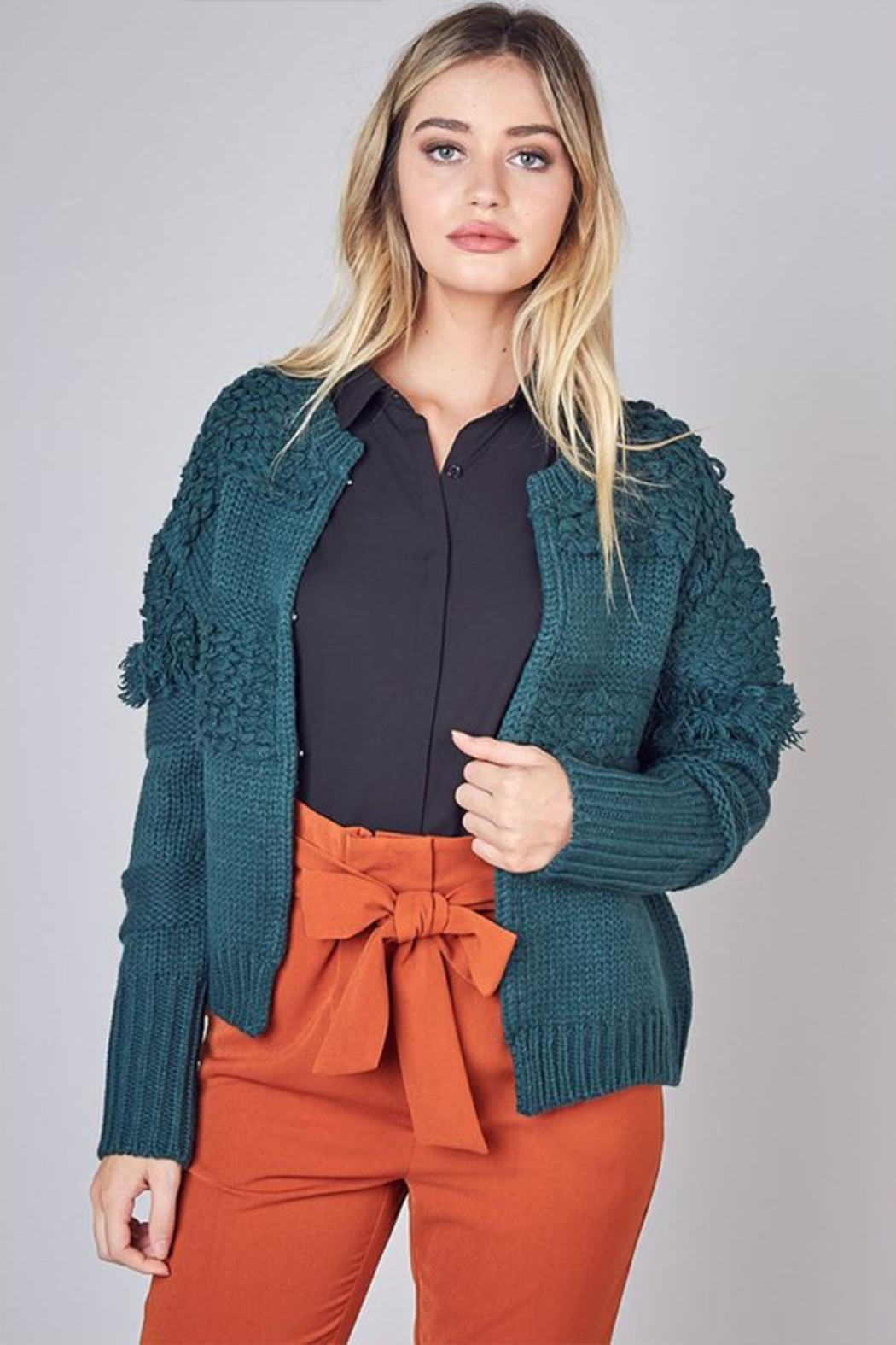 Do & Be Detail Hook-Closure Cardigan - Front Cropped Image