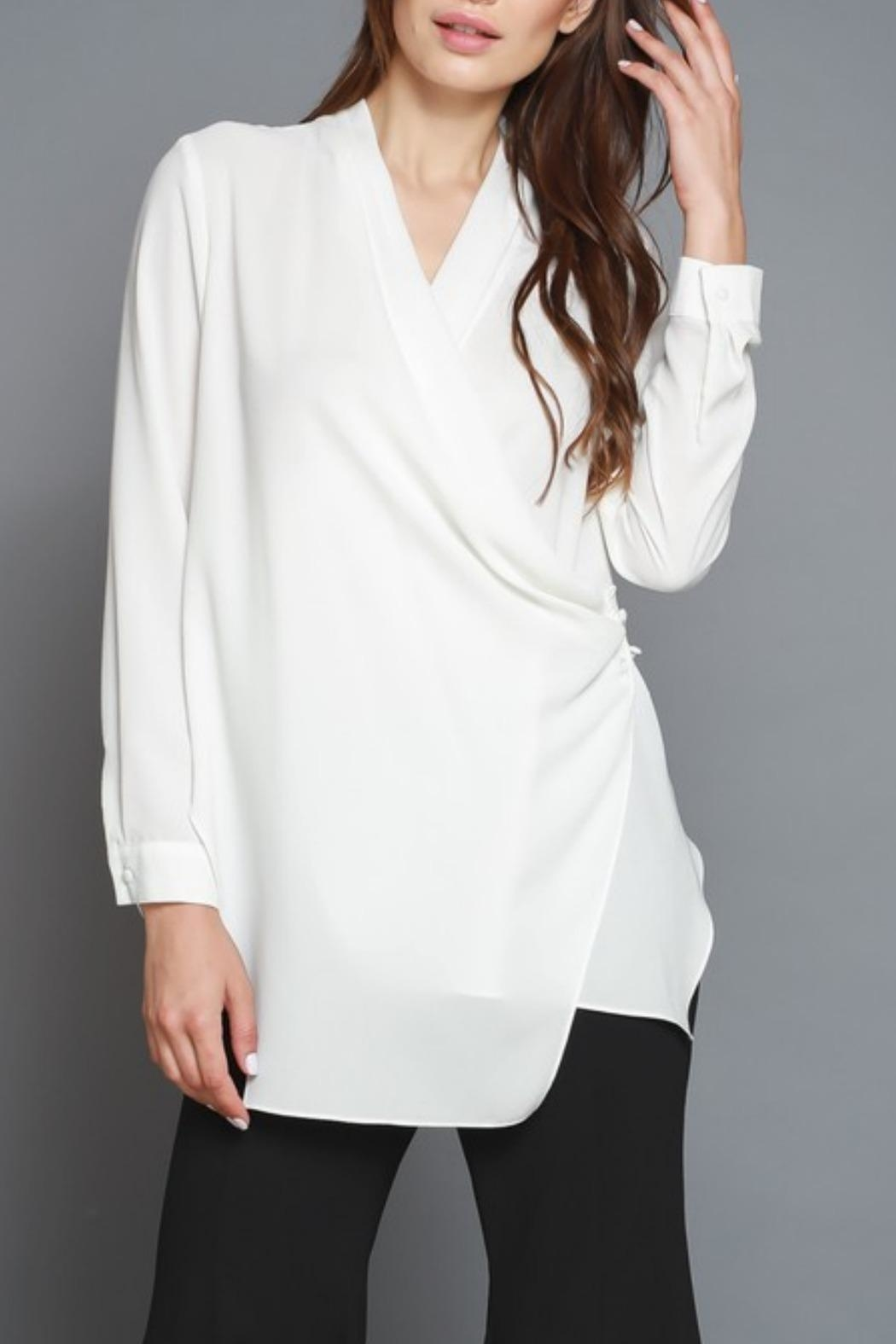 cropped blouse drape l white louisiana tops by be shoptiques front neck drapes do image bella from products