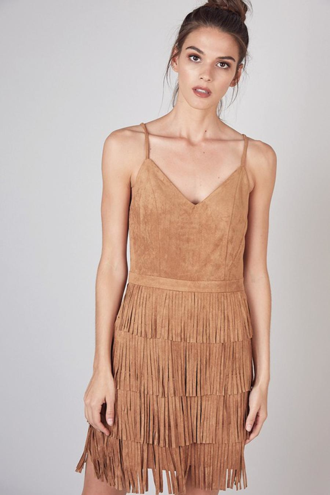 Do & Be Dress With Cut Fringe Skirt - Front Cropped Image