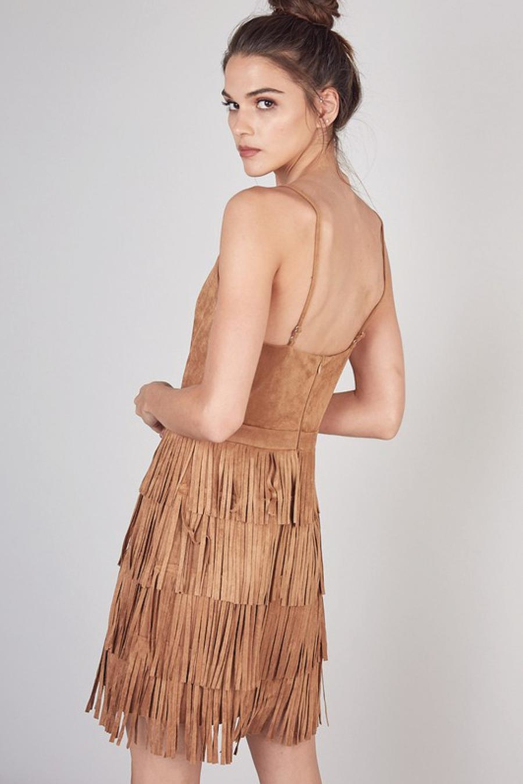 Do & Be Dress With Cut Fringe Skirt - Side Cropped Image