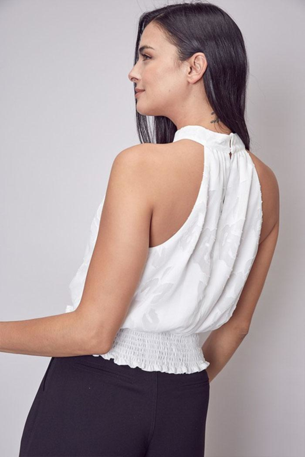 Do & Be Embroidered Mock-Neck Top - Side Cropped Image