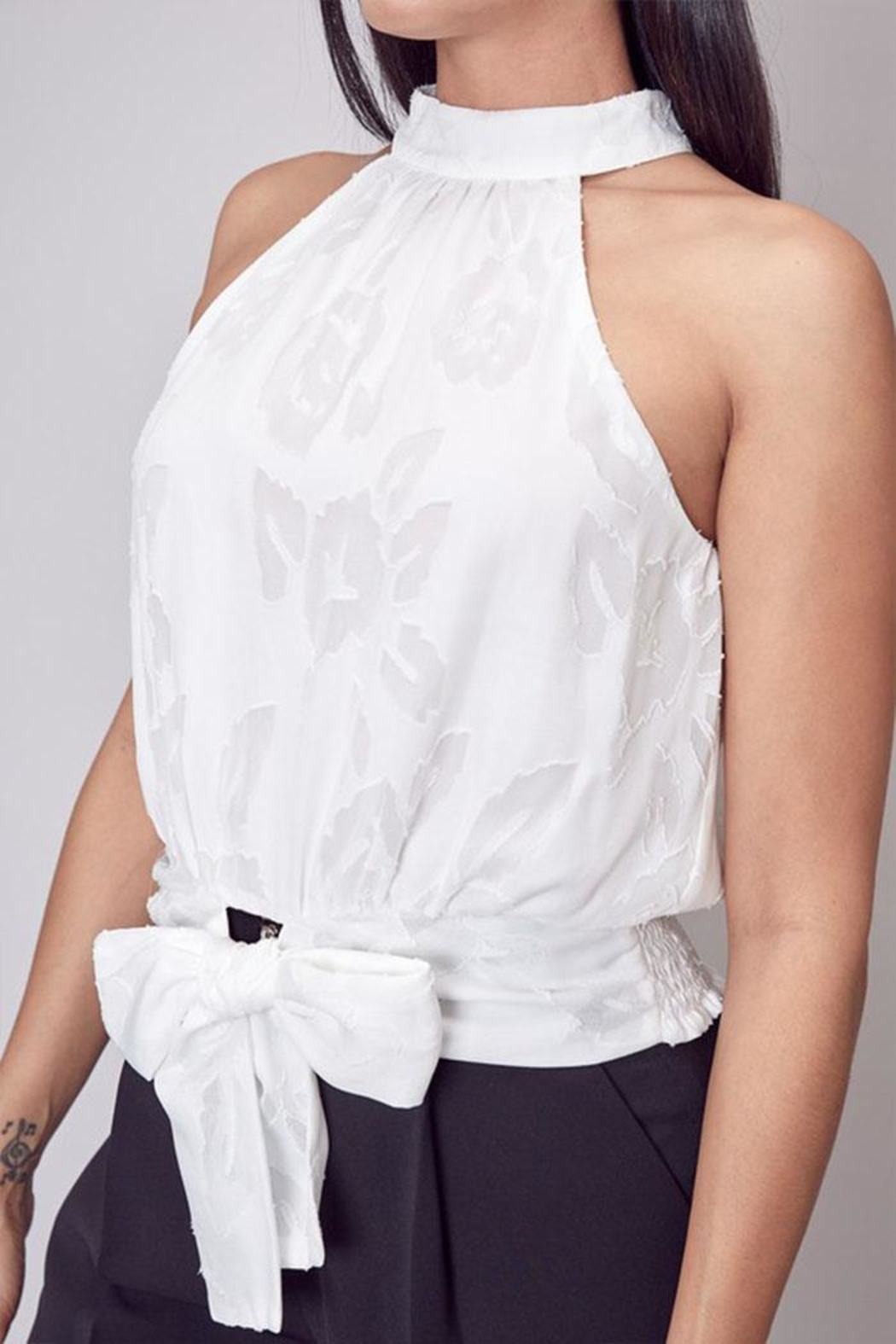 Do & Be Embroidered Mock-Neck Top - Back Cropped Image