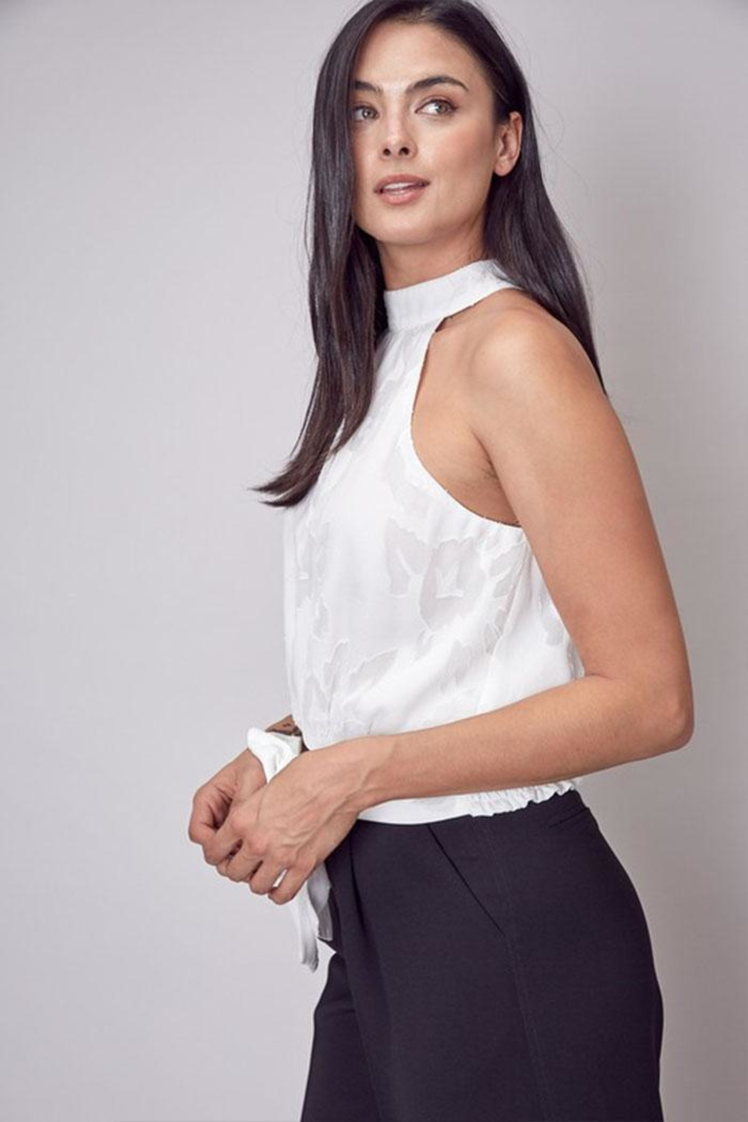 Do & Be Embroidered Mock-Neck Top - Front Full Image