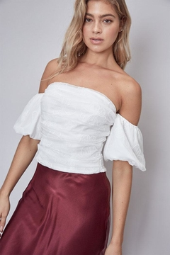 Shoptiques Product: Embroidered Off-The-Shoulder Top