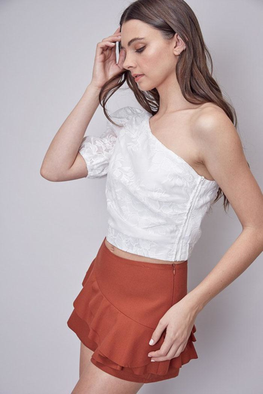 Do & Be Embroidered One-Shoulder Top - Front Full Image