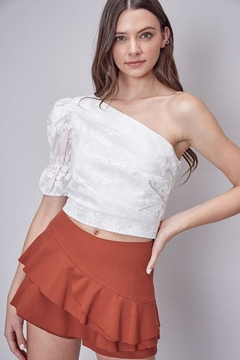 Shoptiques Product: Embroidered One-Shoulder Top