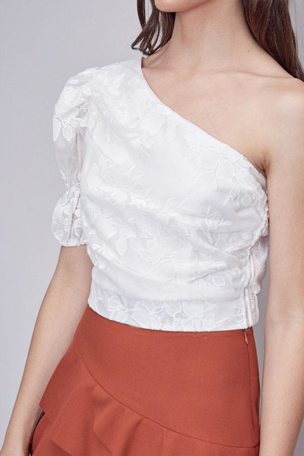 Do & Be Embroidered One-Shoulder Top - Back Cropped Image