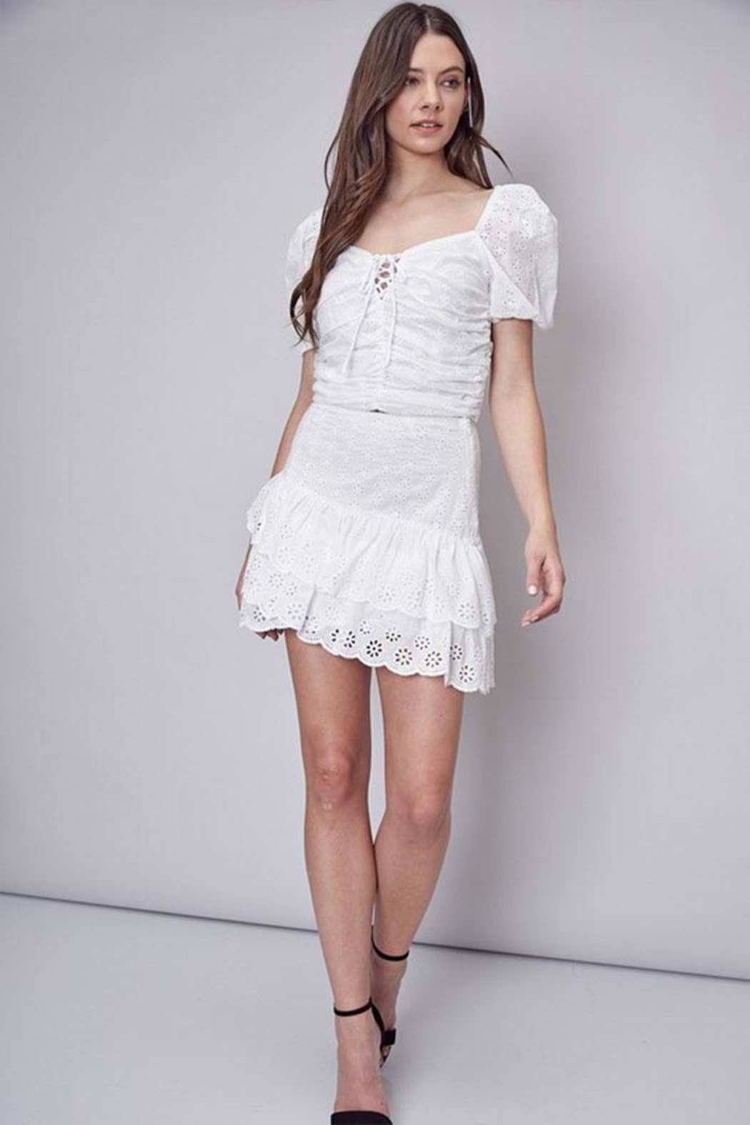 Do & Be Embroidered Ruffle Skirt - Back Cropped Image