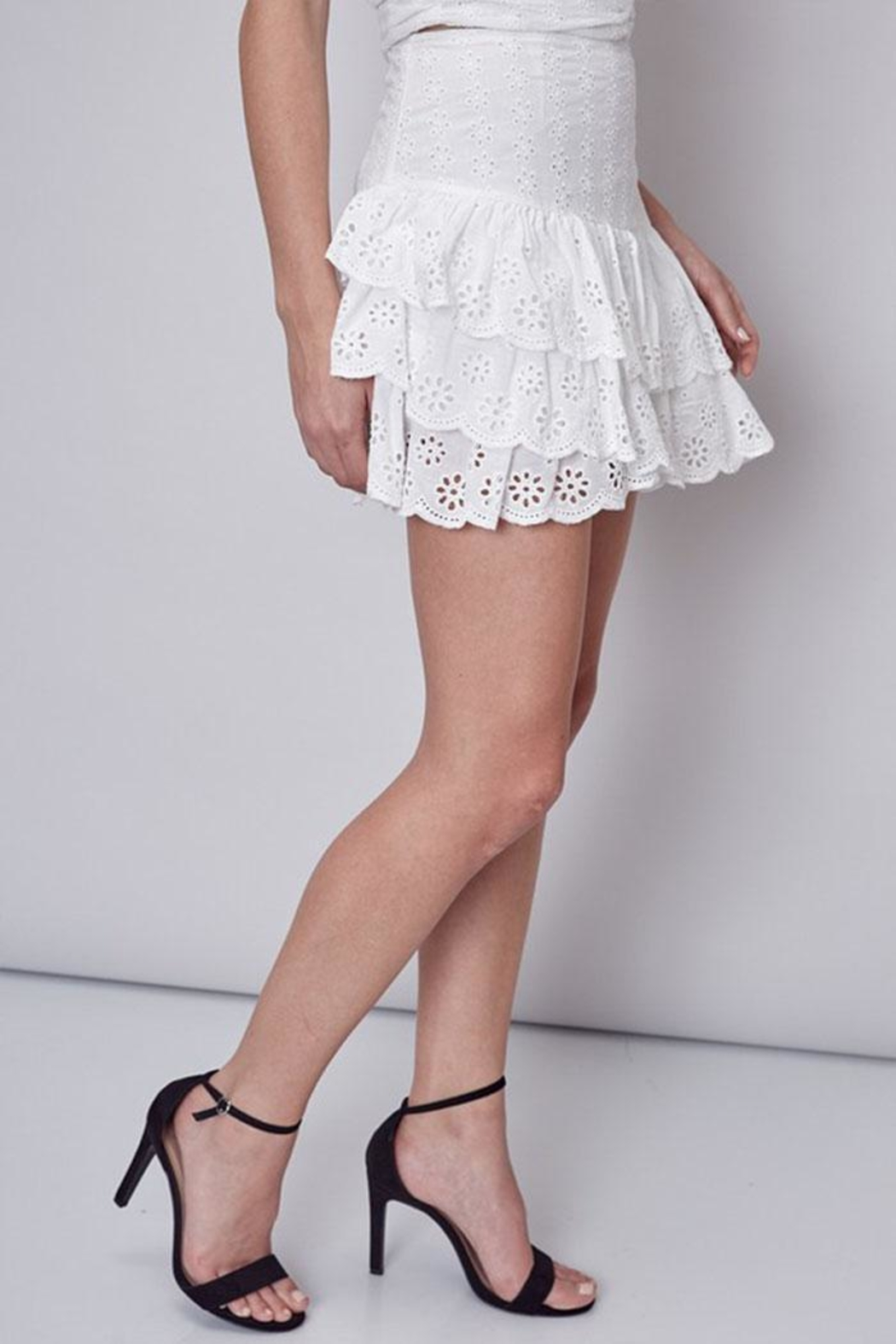 Do & Be Embroidered Ruffle Skirt - Front Full Image