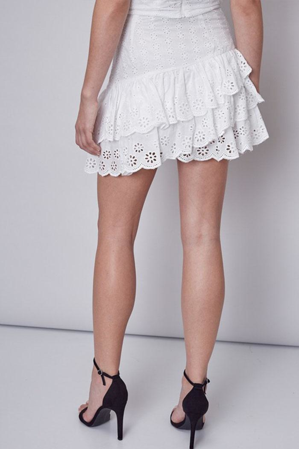 Do & Be Embroidered Ruffle Skirt - Side Cropped Image