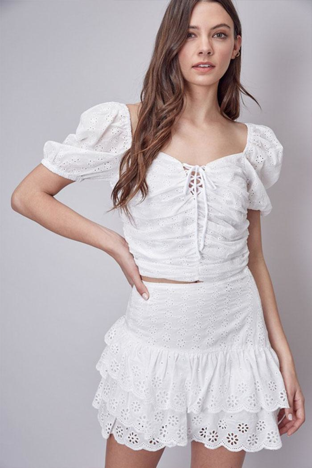 Do & Be Eyelet Crop Top - Front Cropped Image