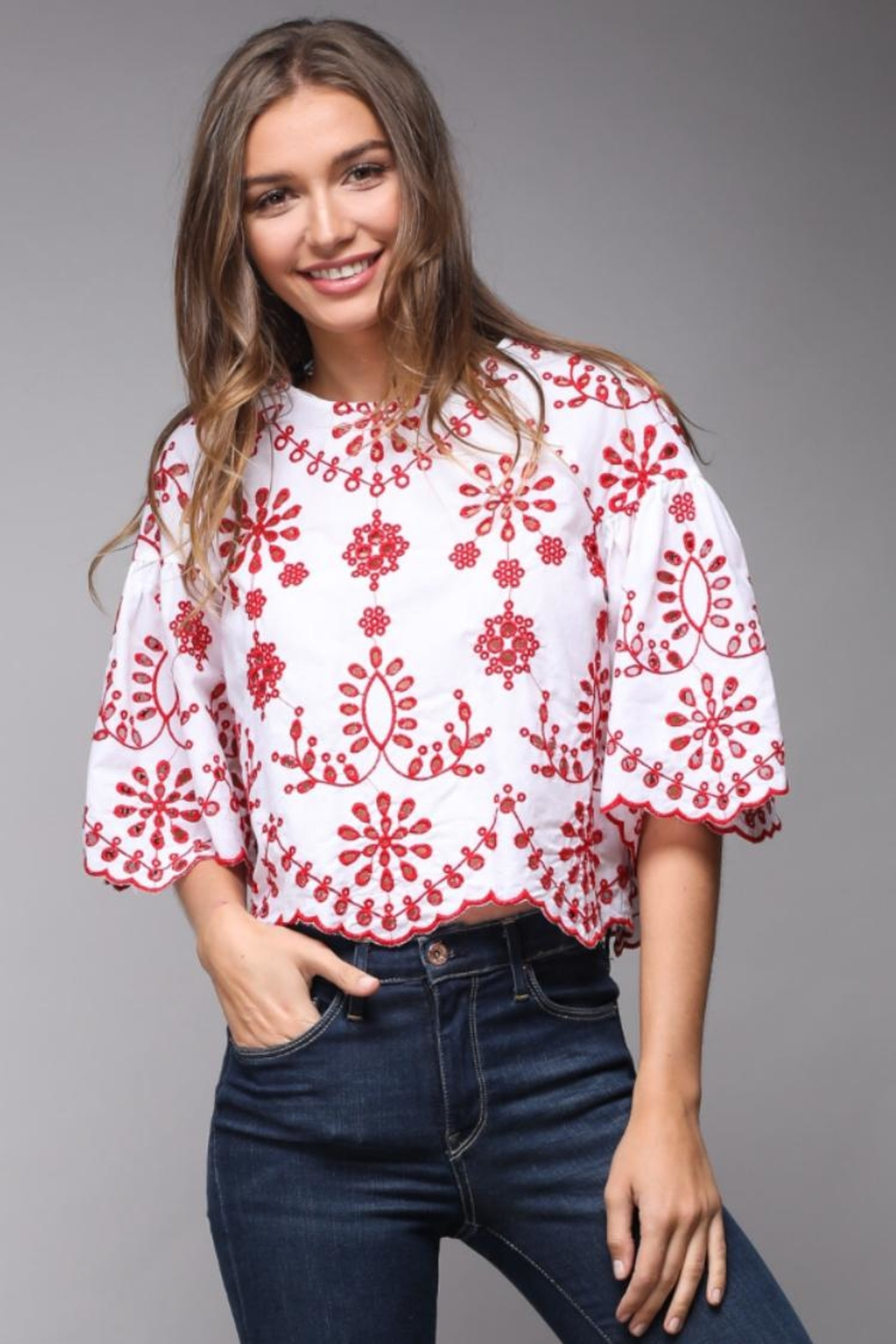 Do & Be Eyelet Lace Crop-Top - Main Image