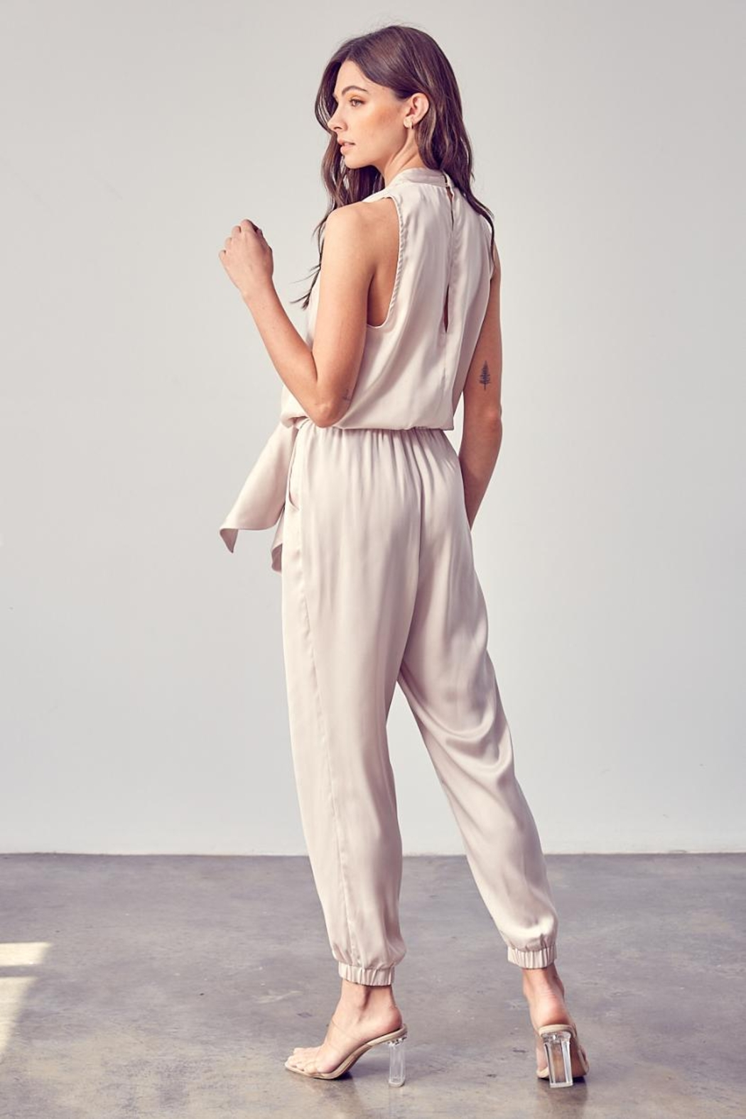 Do & Be Front Tie Jumpsuit - Front Full Image