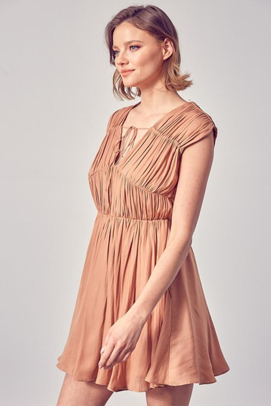 Do & Be Front Tie Ruched Dress - Front Full Image