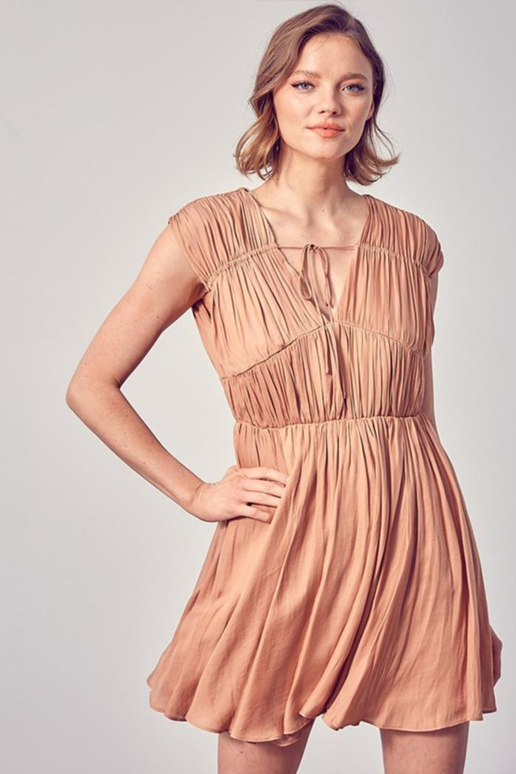 Do & Be Front Tie Ruched Dress - Main Image