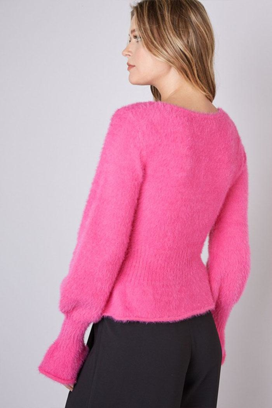 Do & Be Fuzzy Flared Sweater - Side Cropped Image