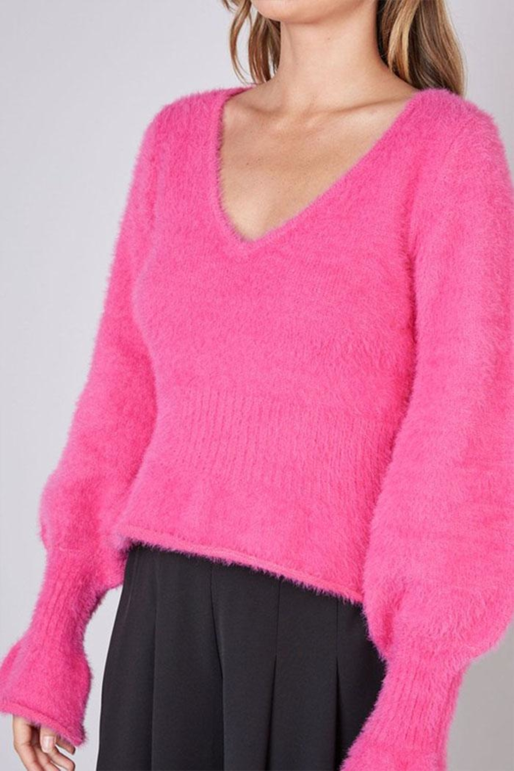 Do & Be Fuzzy Flared Sweater - Front Full Image