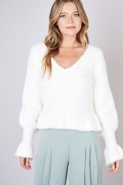 Do & Be Fuzzy Flared Sweater - Front cropped