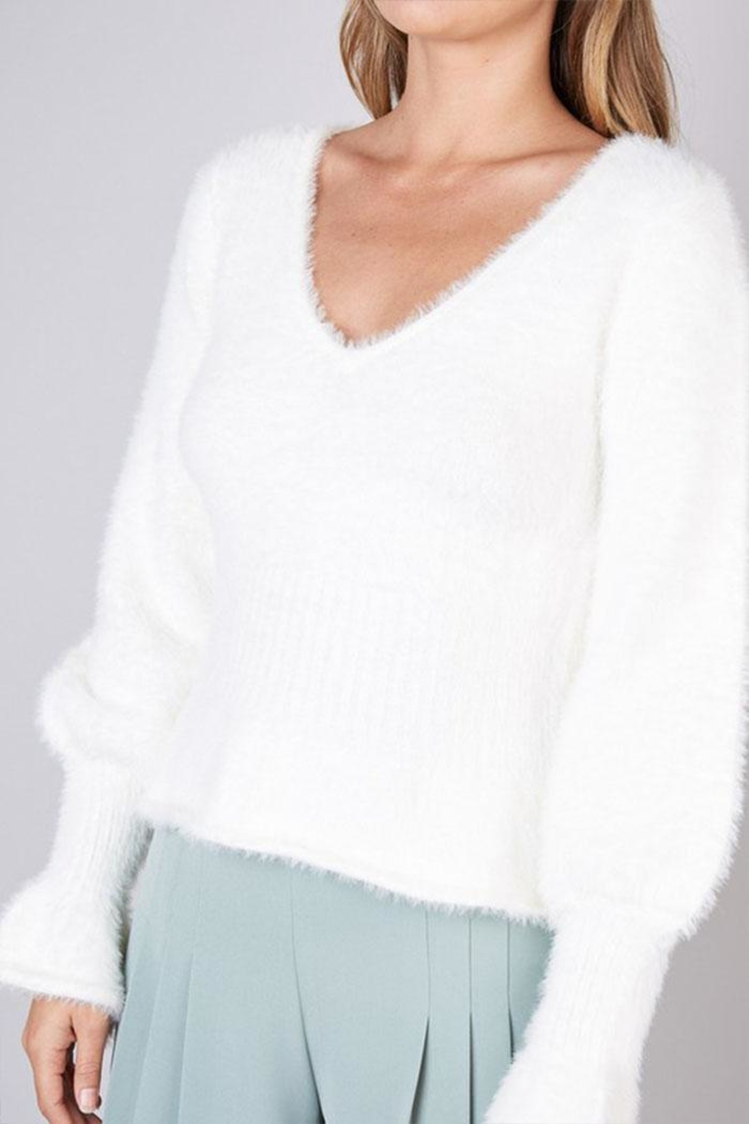 Do & Be Fuzzy Flared Sweater - Back Cropped Image