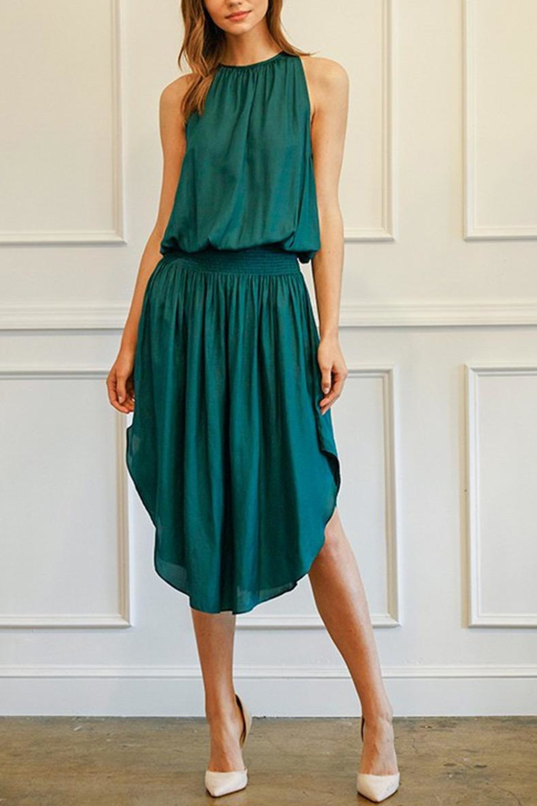 Do & Be Green Smocked-Waist Dress - Side Cropped Image