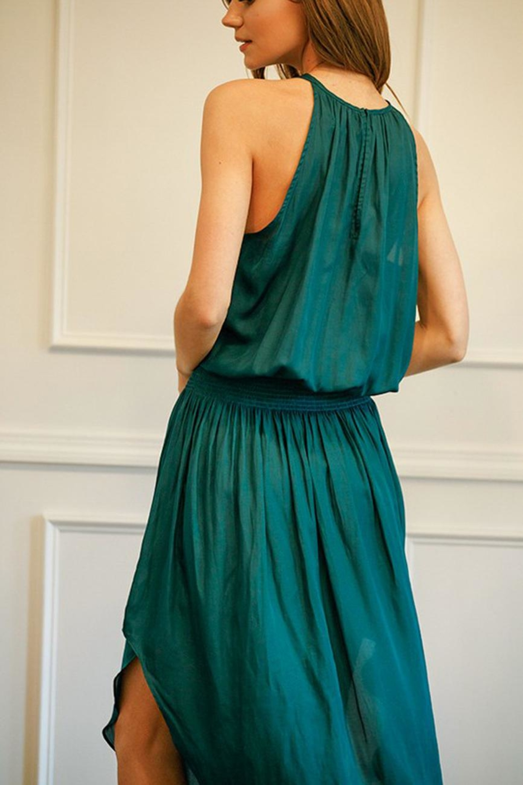 Do & Be Green Smocked-Waist Dress - Back Cropped Image