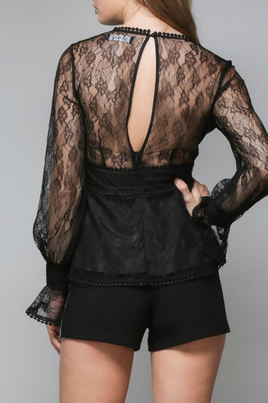 Do & Be Lace Peplum Blouse - Side Cropped Image