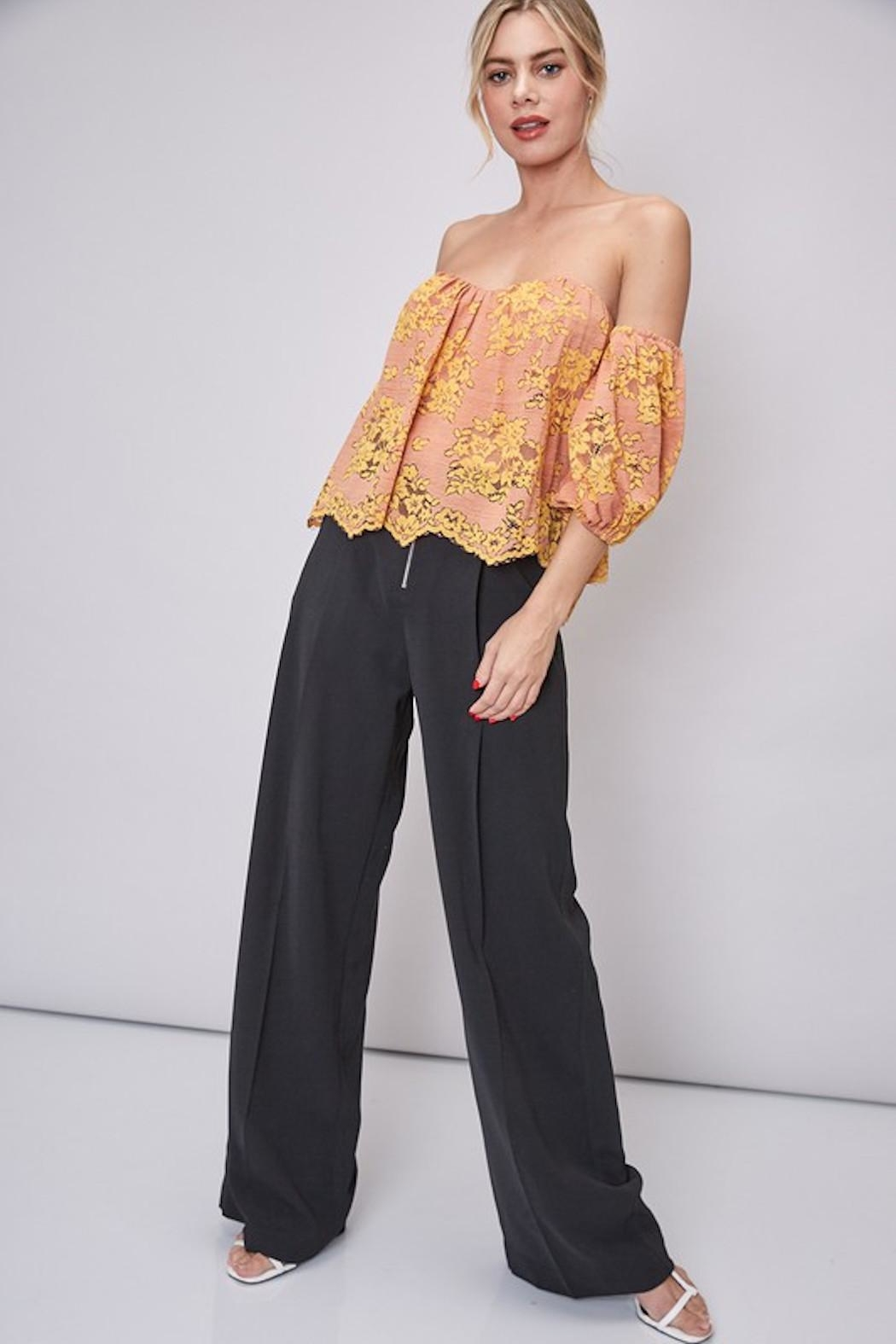 Do & Be Lace Strapless Top - Back Cropped Image