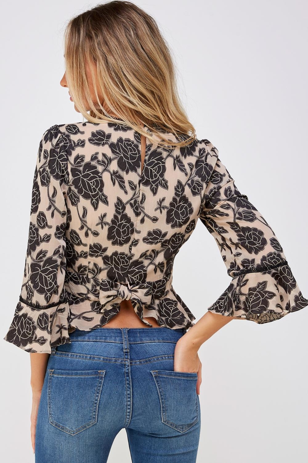 Do & Be Lace Trim Blouse - Back Cropped Image