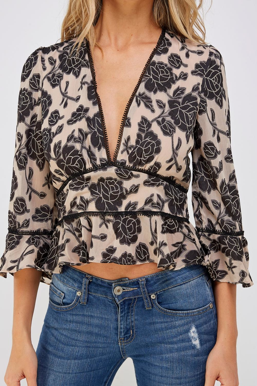 Do & Be Lace Trim Blouse - Side Cropped Image