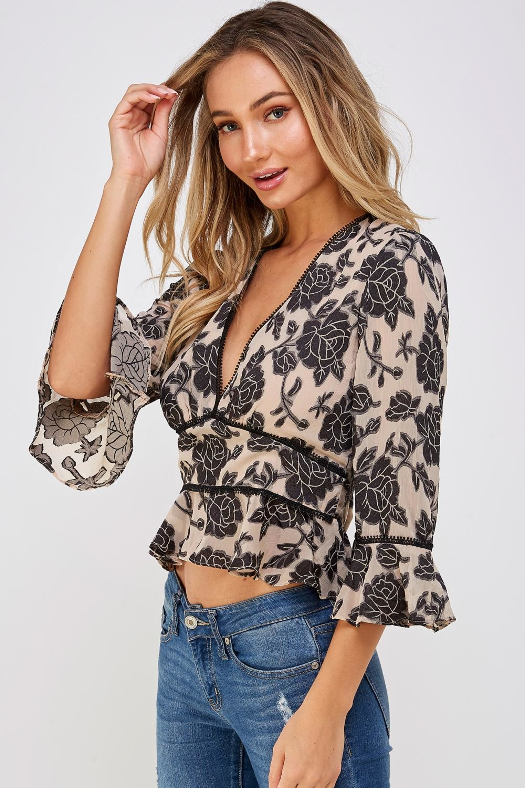 Do & Be Lace Trim Blouse - Front Full Image