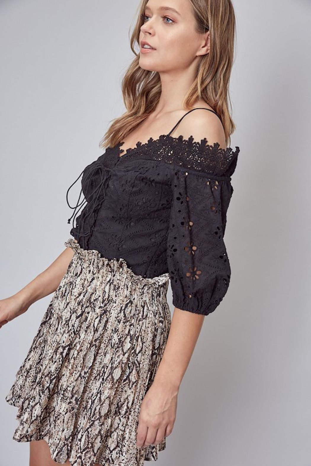 Do & Be Lace Up Crochet Top - Back Cropped Image