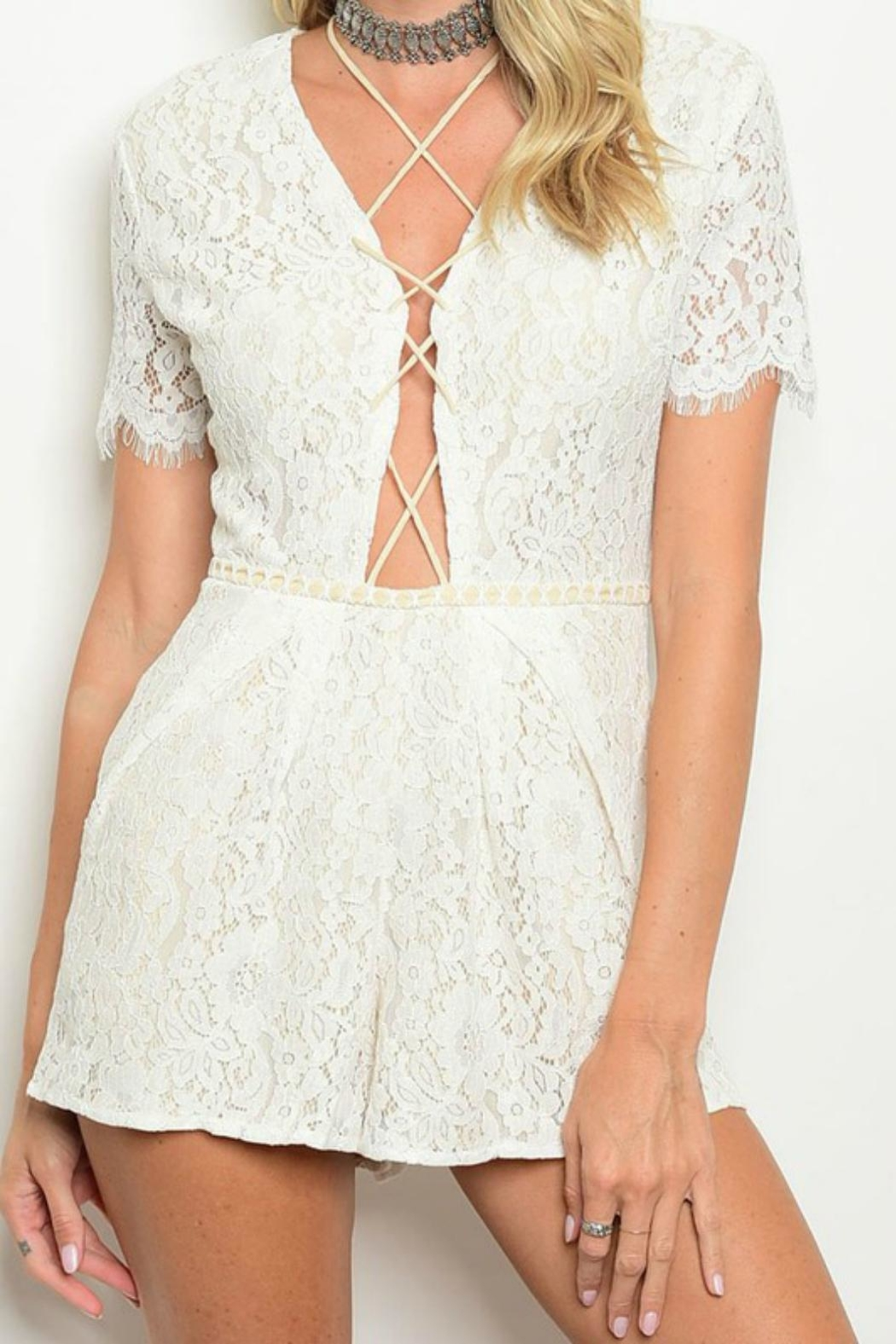 Do & Be Lace Up Romper - Front Cropped Image