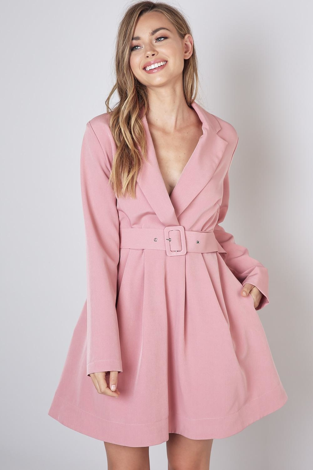 Do & Be Lapel Collar Dress - Front Cropped Image
