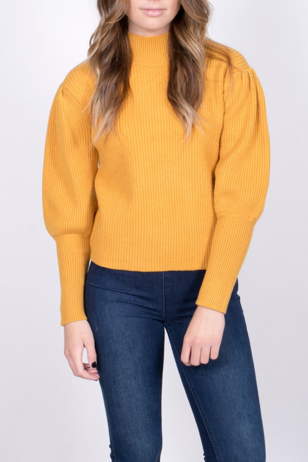 Do & Be Mustard Balloon Sleeve Sweater - Back Cropped Image
