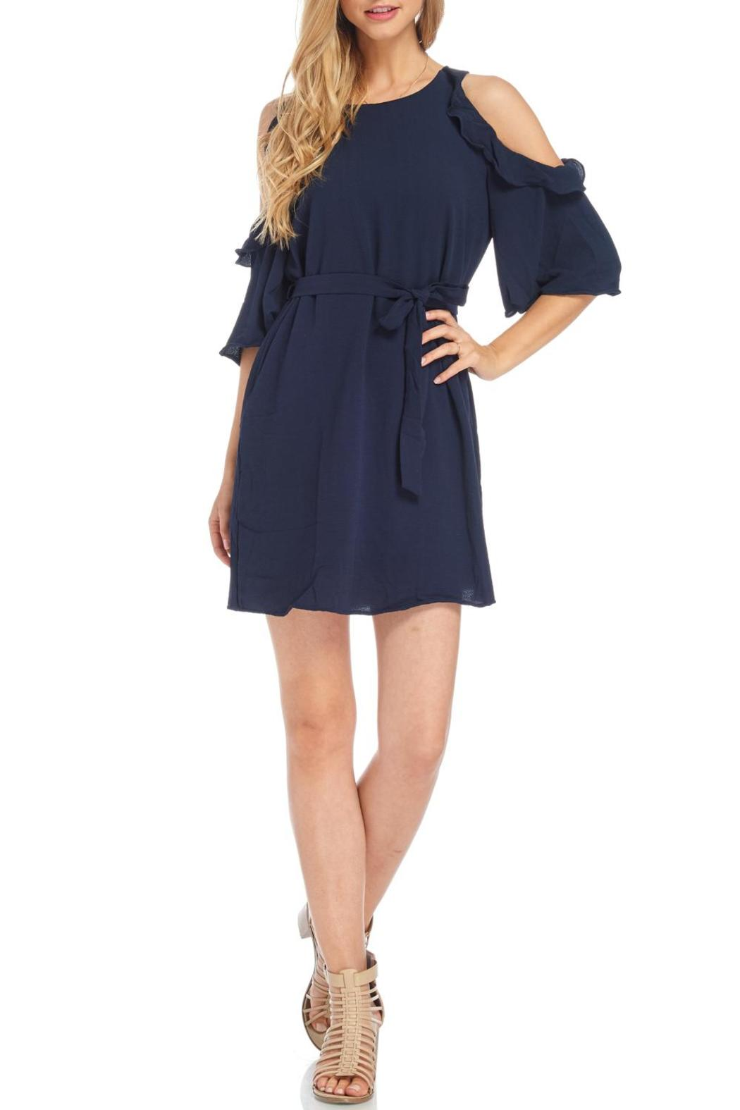Do & Be Navy Cold Shoulder Dress - Main Image