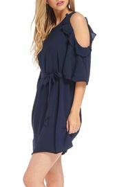 Do & Be Navy Cold Shoulder Dress - Back cropped