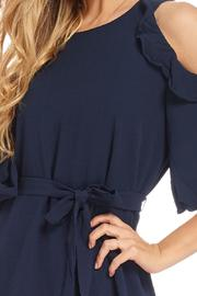 Do & Be Navy Cold Shoulder Dress - Front full body