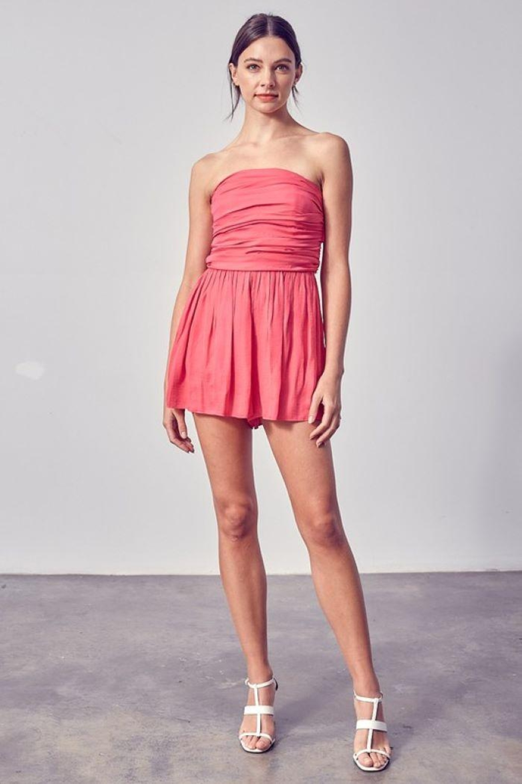 Do & Be Off Shoulder Ruched Romper - Back Cropped Image