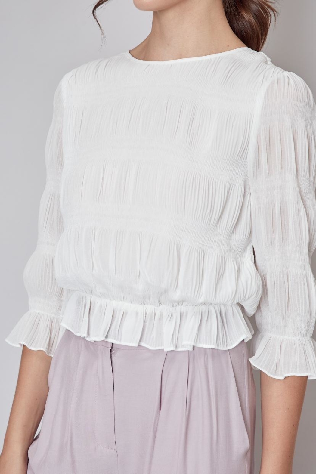 Do & Be Off-White Pleated Top - Side Cropped Image