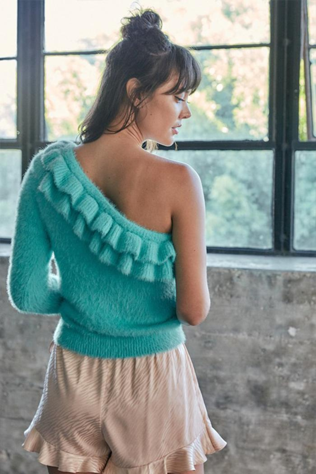 Do & Be One-Shoulder Ruffle Sweater - Back Cropped Image